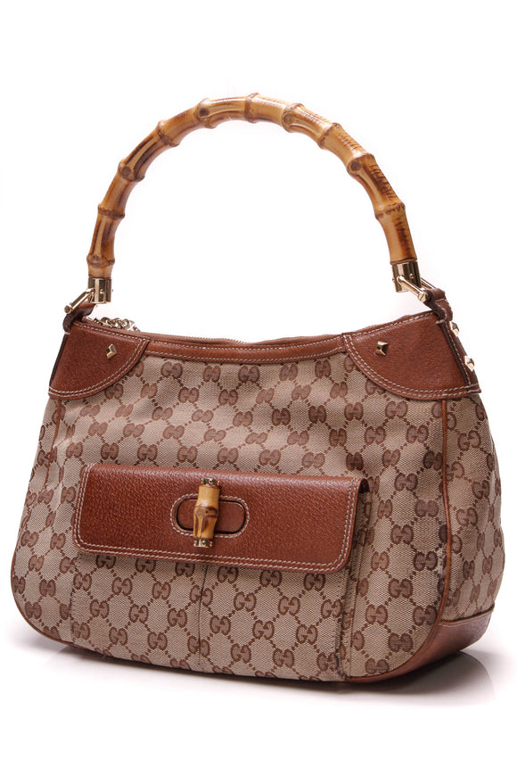 Gucci Bamboo Top Handle Bag Signature Canvas Brown