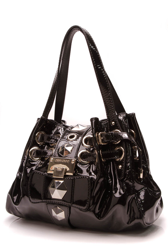 Jimmy Choo Studded Riki Bag Black Patent