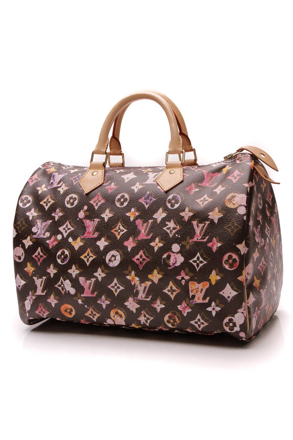 Louis Vuitton Watercolor Aquarelle Speedy 35 Bag Monogram Brown