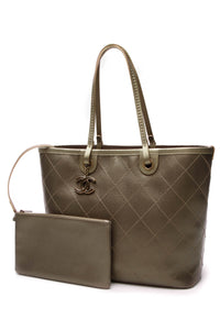 Chanel Shopping Fever Tote Bag Metallic Olive Caviar