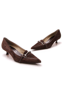 Gucci Scar Pelle S. Gomma Pumps Brown Suede Size 10