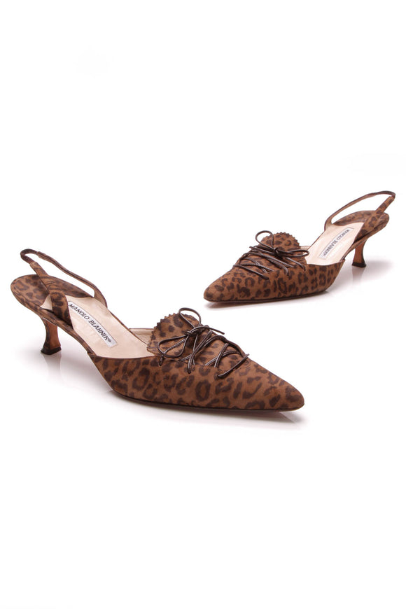 Manolo Blahnik Leopard Print Lace-Up Slingback Pumps Brown Black Size 41