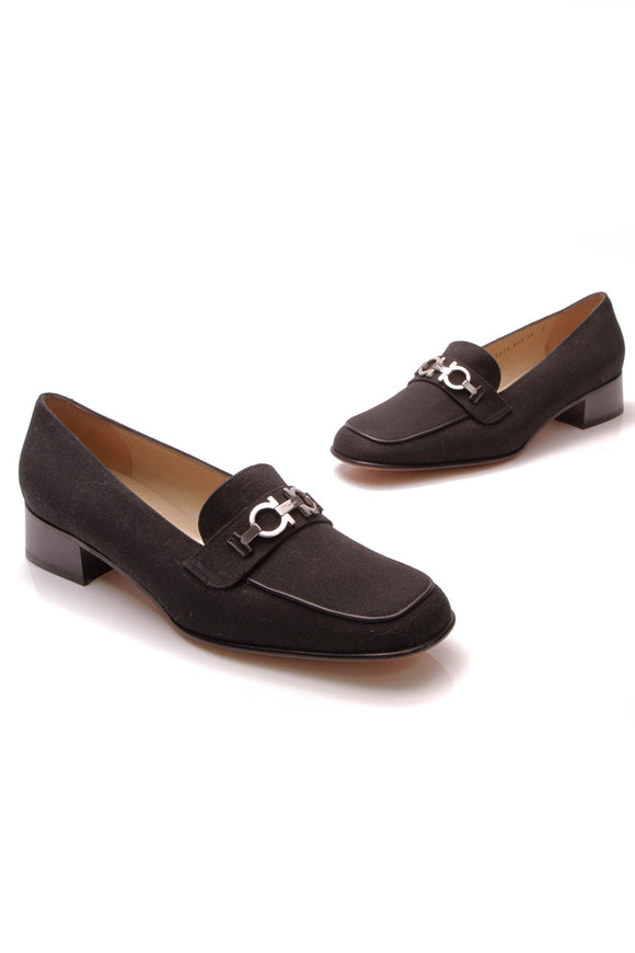 Salvatore Ferragamo Gancini Loafers Black Canvas Size 10