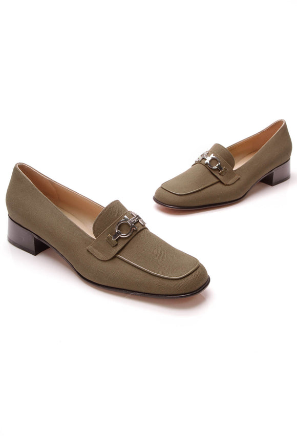 Salvatore Ferragamo Gancini Loafers Olive Canvas Size 10