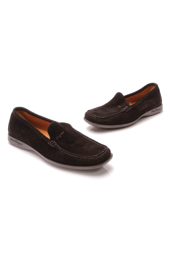 Salvatore Moccasin Loafers Black Suede Size 10