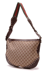 Gucci Web Studded Pelham Bag Signature Canvas Beige