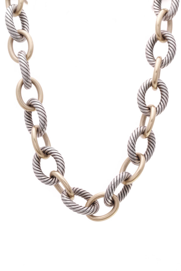 David Yurman Oval Link XL Chain Necklace Silver Gold