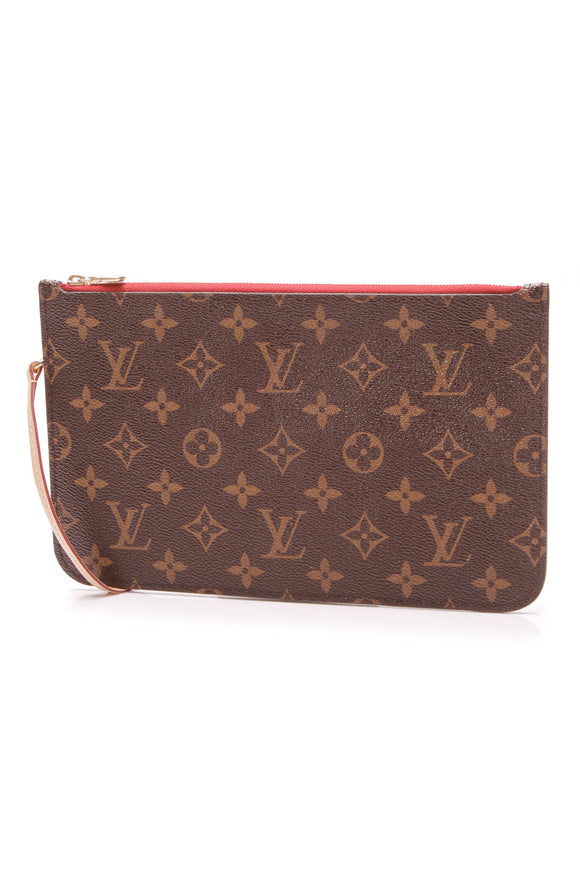 Louis Vuitton Neverfull Pouch Wristlet Monogram Canvas Brown