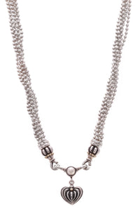Lagos Caviar Pearl Fluted Heart Multi-Chain Necklace Silver Gold
