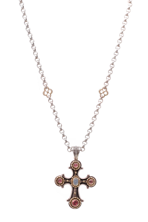 Konstantino Pink Tourmaline Chalcedony Cross Pendant Necklace  Silver Gold