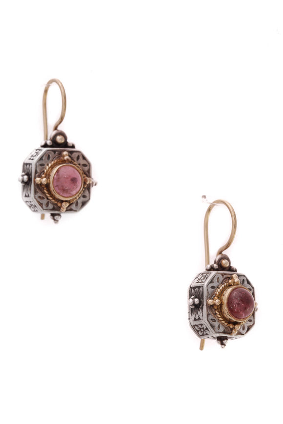 Konstantino Pink Tourmaline Drop Earrings Silver Gold