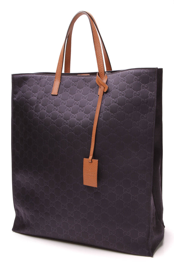 Gucci Shopper Tote Bag Navy Guccissima Nylon
