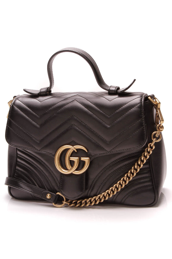 Gucci Marmont Small Top Handle Bag Matelasse Leather Black