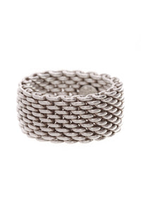 Tiffany & Co. Somerset Mesh Dome Band Ring Silver Size 7