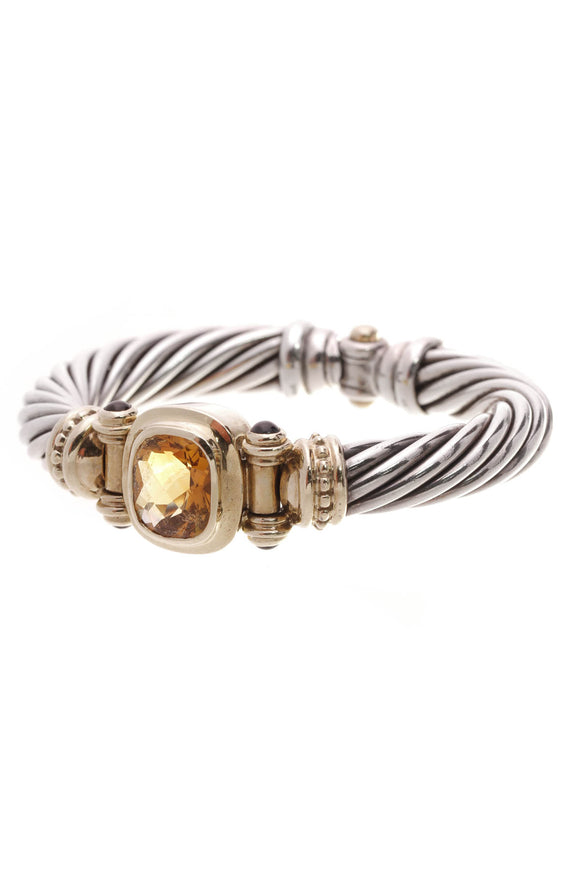 David Yurman 10mm Citrine Blue Topaz Cable Bracelet Silver Gold