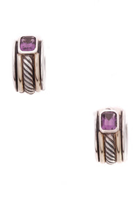 David Yurman Amethyst Cable Huggie Earrings Silver Gold