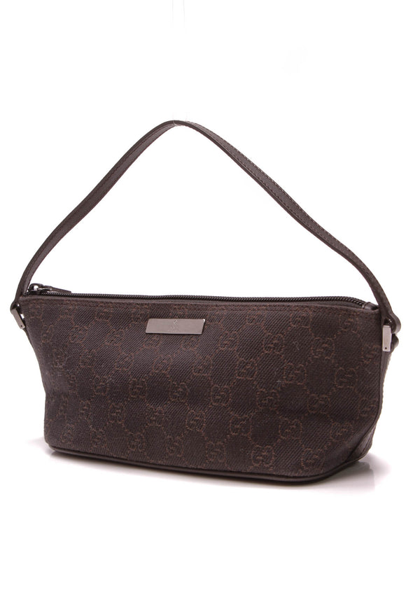 Gucci Boat Pochette Bag Brown Signature Canvas