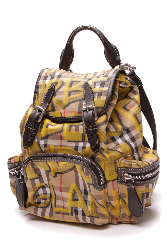 Burberry Graffiti Check Print Small Backpack Yellow Nylon