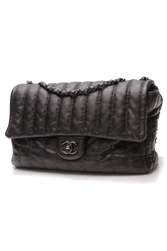 Chanel Classic Vertical Stitch Flap Bag Jumbo Black Lambskin