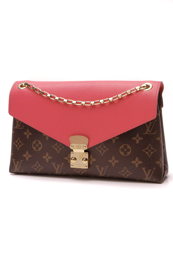 Louis Vuitton Pallas Chain Bag Monogram Rose Litchi Brown Pink