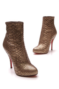 Christian Louboutin Feticha 120mm Python Booties Metallic Gold Size 38