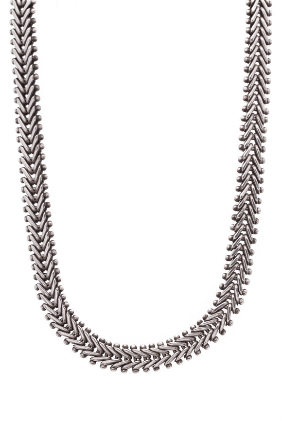 Stephen Dweck Beaded Link Bike Chain Toggle Necklace Silver