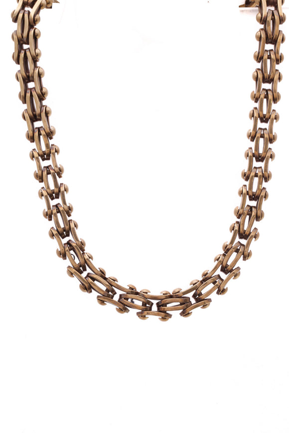 Stephen Dweck Vintage Bicycle Chain Link Toggle Necklace Bronze