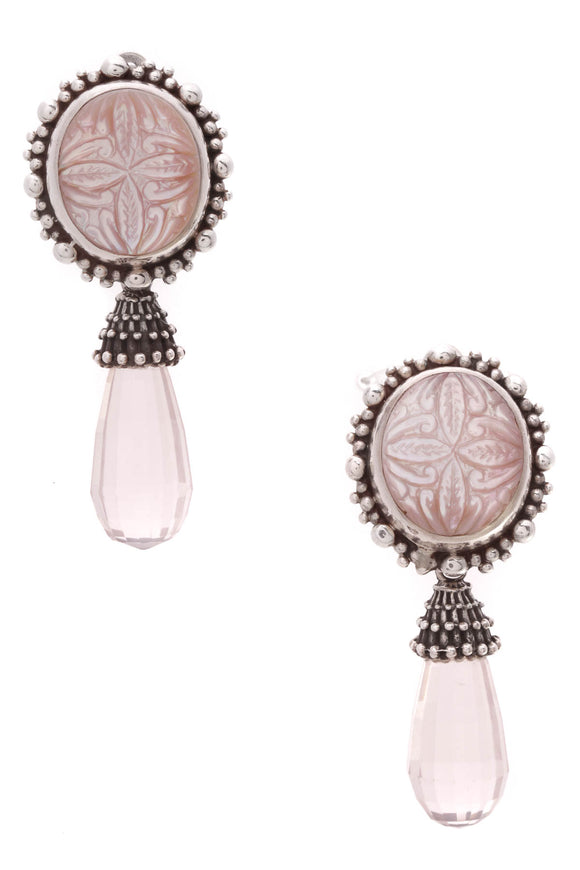 Stephen Dweck Carved Flower Rose Quartz Clip-On Drop Earrings Silver