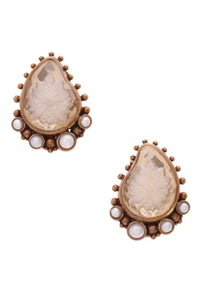 Stephen Dweck Carved Flower Clear Quartz & Pearl Clip-On Earrings Gold