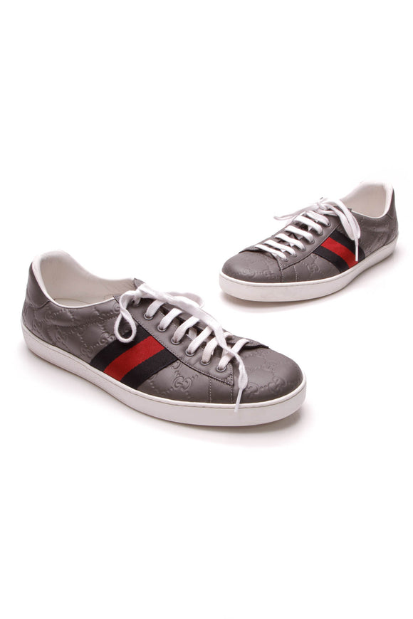 Gucci Ace Signature Web Men's Sneakers Gray Guccissima US Size 12.5