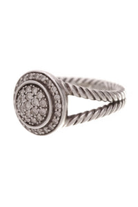 David Yurman Petite Cerise Pave Diamond Ring Silver Size 6