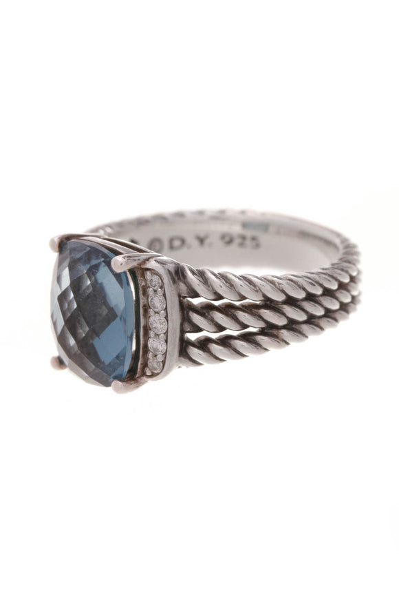 David Yurman Diamond Topaz Petite Wheaton Ring Silver Size 5.5