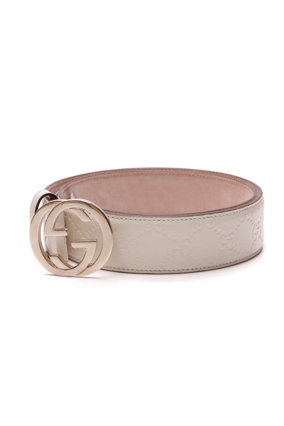 Gucci Interlocking G Buckle Belt Off White Guccissima Size 32