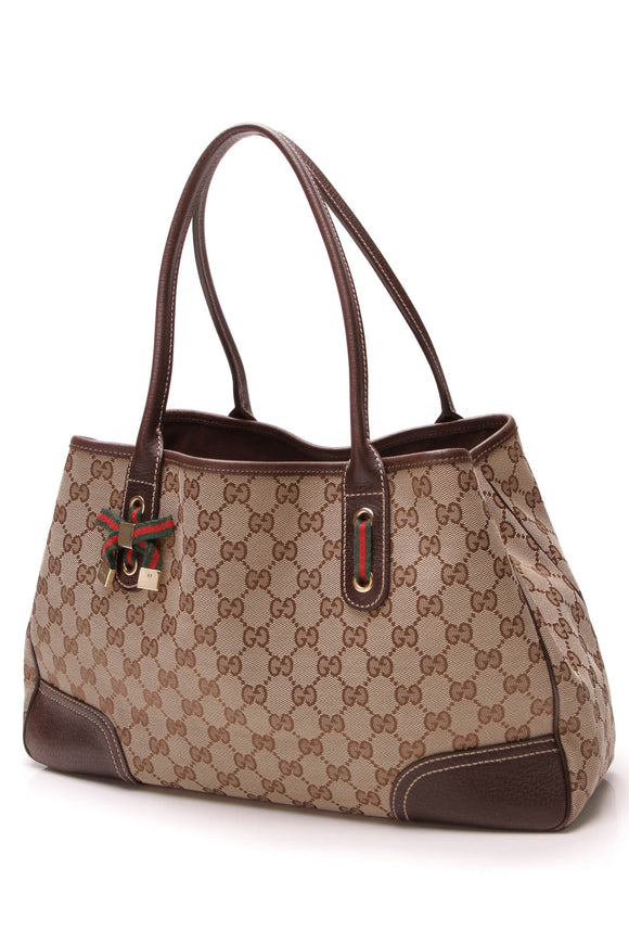 Gucci Princy Medium Tote Bag Signature Canvas Beige