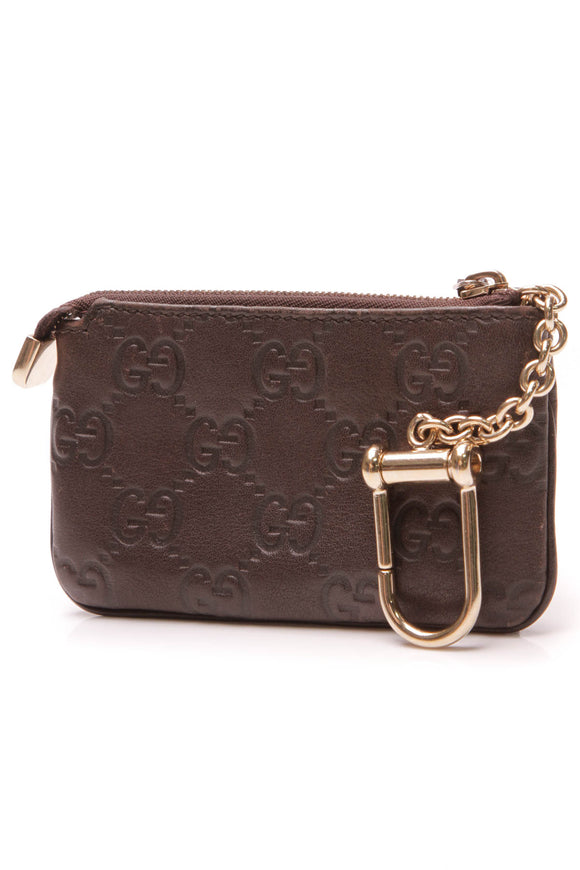 Gucci Pochette Key Pouch Chocolate Brown Guccissima