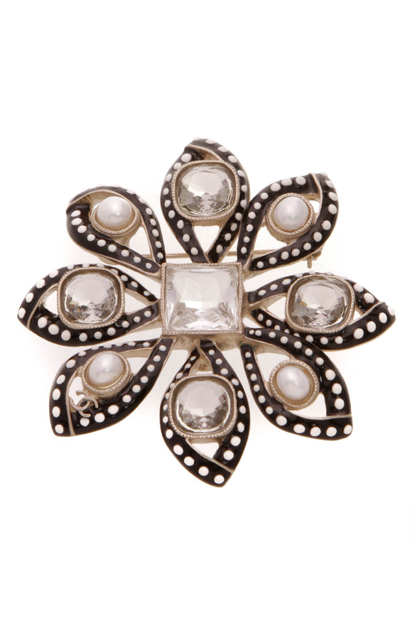 Chanel 2016 Runway Crystal Pearl Flower Brooch Black Gold