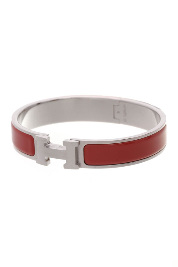 Hermes Clic H PM Bangle Bracelet Rouge Silver