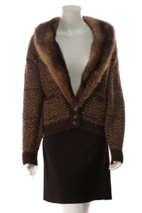 Ralph Lauren Mink Collar Cardigan Brown Size Small