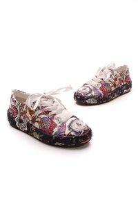 Tory Burch Kacey Flower Embellished Sneakers White Navy Satin Size 7