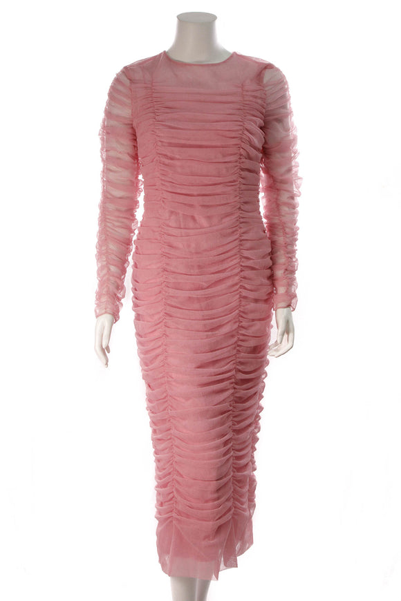 Dolce and Gabbana Embellished Ruched Tulle Dress Pink Size 50