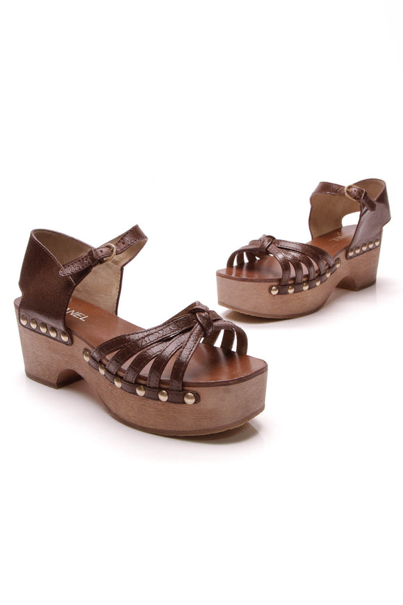 Chanel Studded Wooden Platform Sandals Brown Size 40