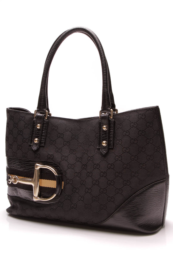 Gucci Hasler Tote Bag Black Signature Canvas