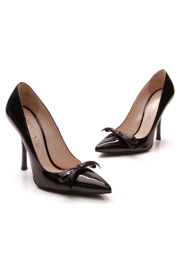 Prada Pointed-Toe Bow Pumps Black Patent Size 36