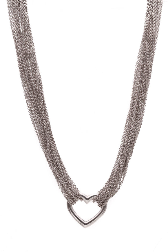 Tiffany & Co. Multi-Chain Heart Toggle Necklace Silver