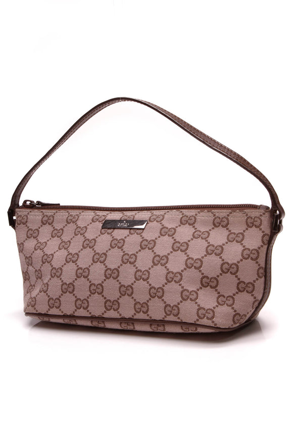 Gucci Boat Pochette Bag Rose Signature Canvas