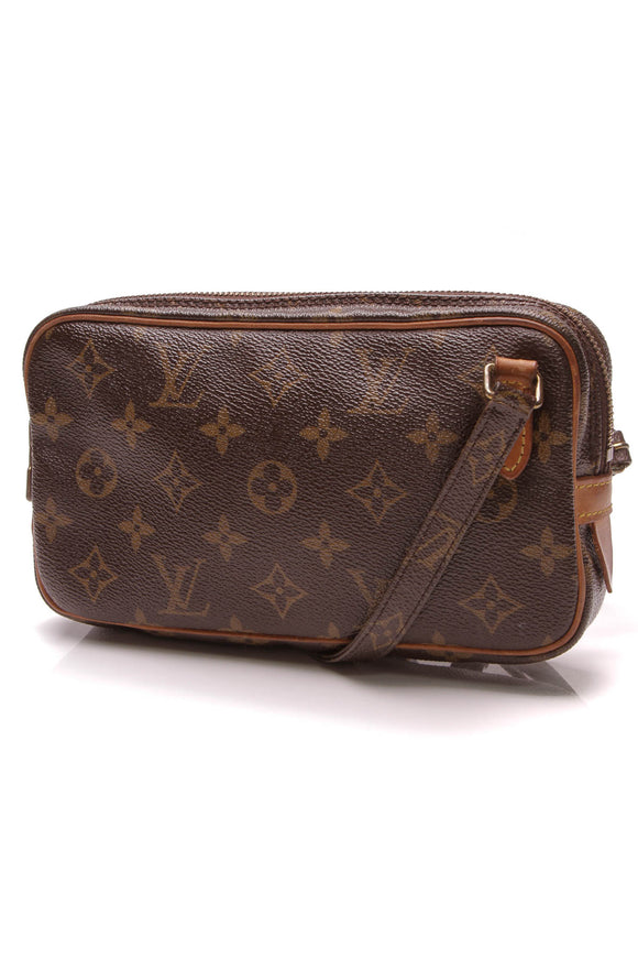 Louis Vuitton Vintage Pochette Marly Crossbody Bag Monogram Brown