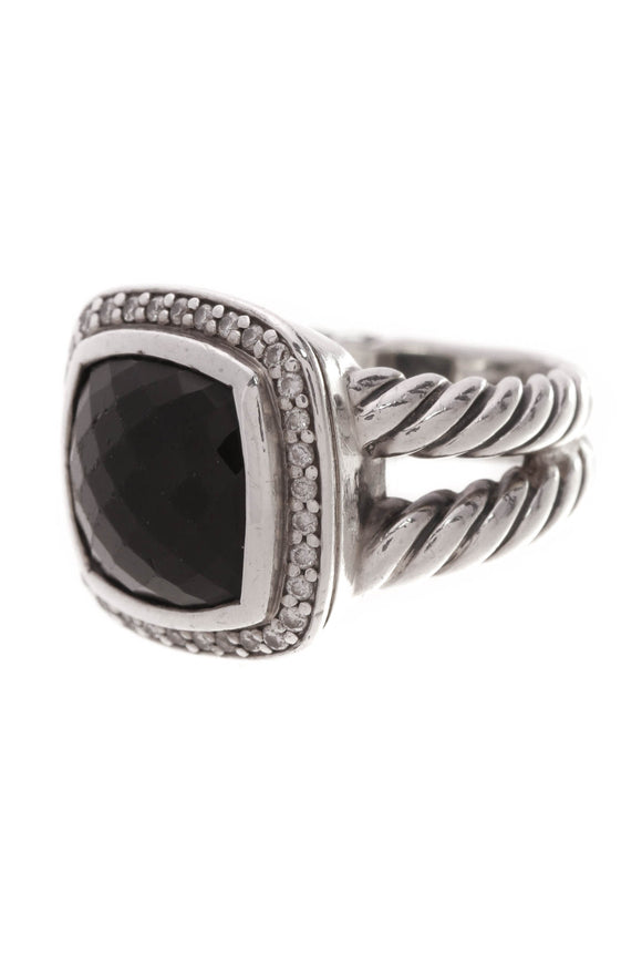 David Yurman 11mm Diamond Black Onyx Albion Ring Silver Size 5