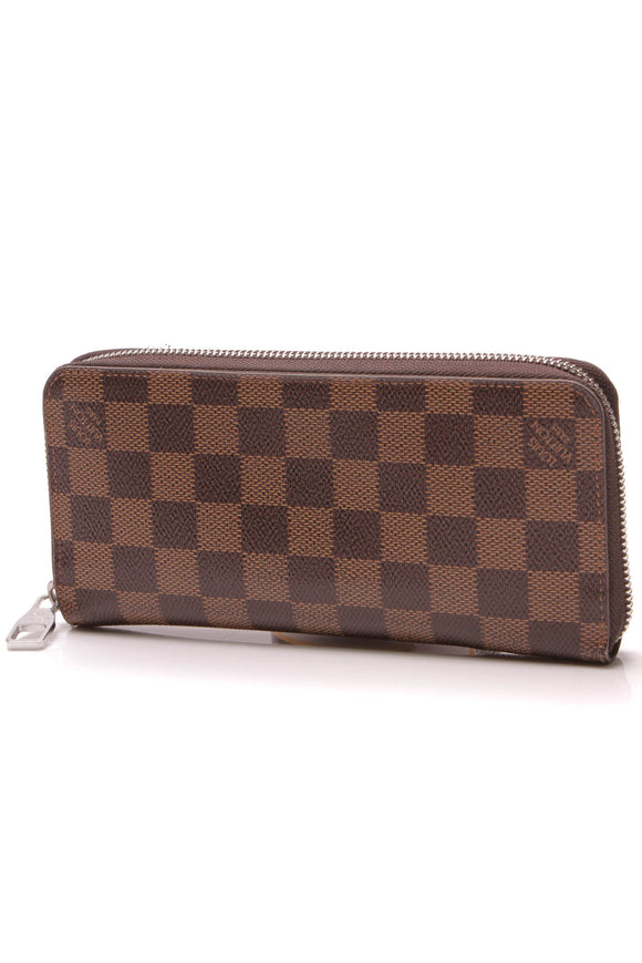 Louis Vuitton Vertical Zippy Wallet Damier Ebene Brown