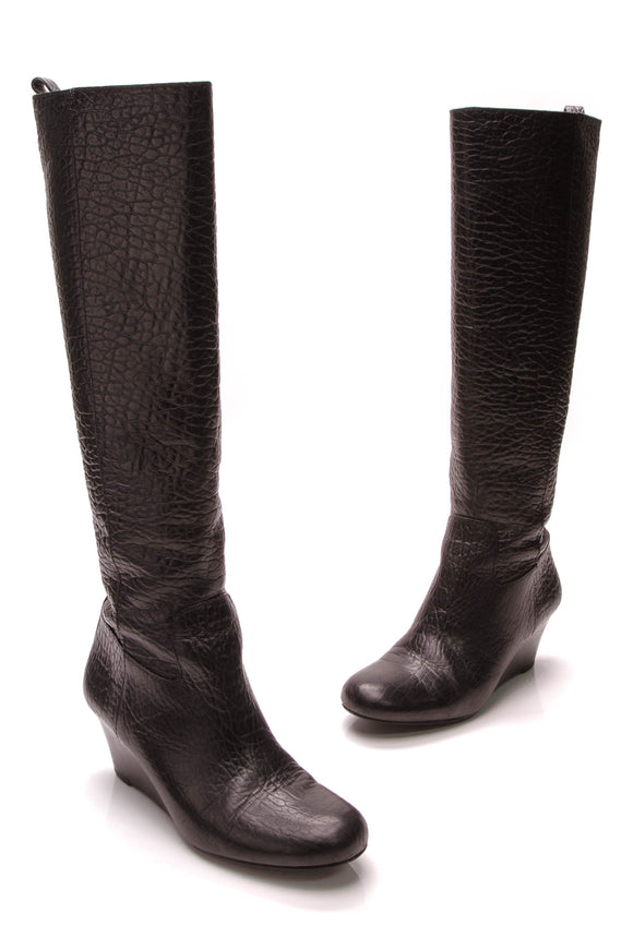 Tory Burch Dabney Knee-High Wedge Boots Black Size 7.5