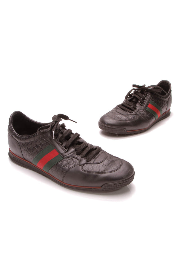 Gucci Web Men's Sneakers Black Microguccissima US Size 11